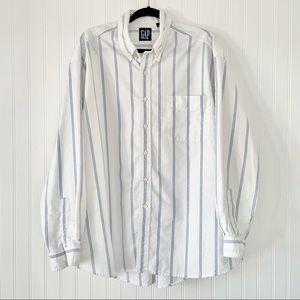 GAP Men's Cotton Stripe Long Sleeve Button Down XL
